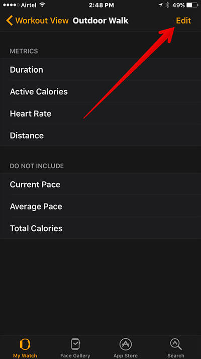 Tap on Edit in Workout on Apple Watch