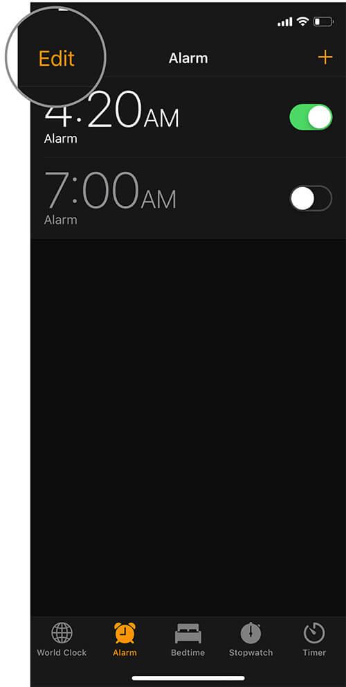 Tap on Edit in iOS Clock app
