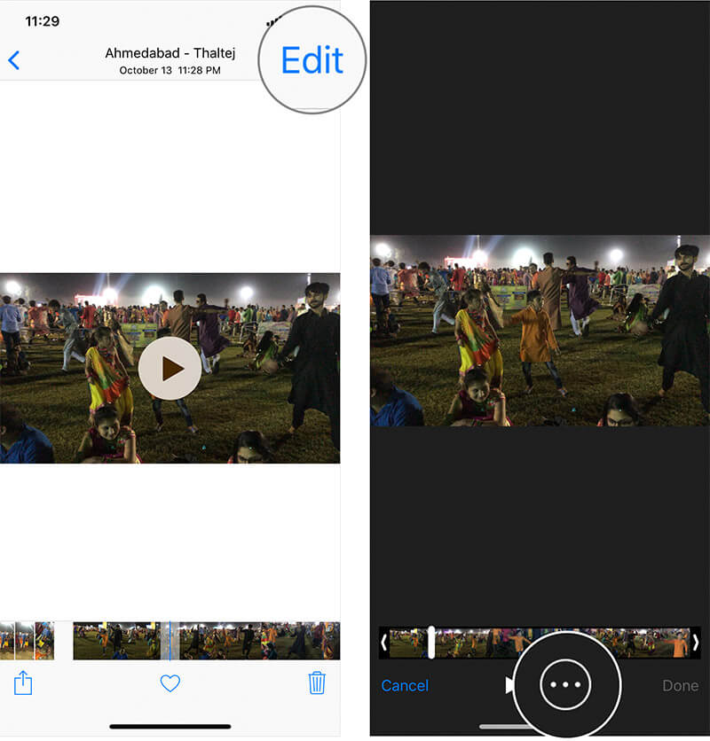 Tap on Edit in iPhone Video