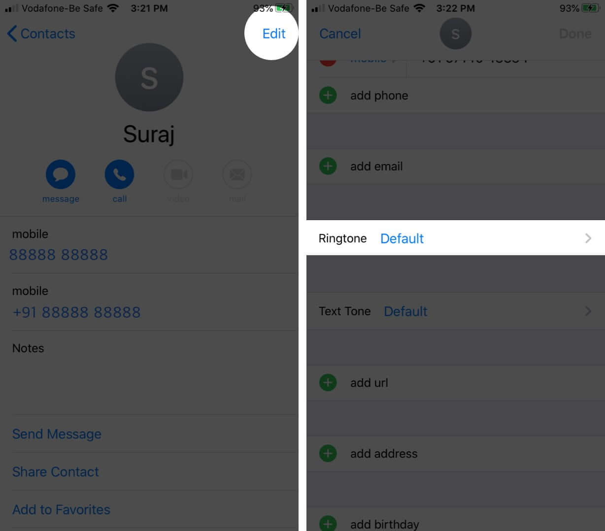 Tap on Edit on Contact Card and Then Tap on Ringtone