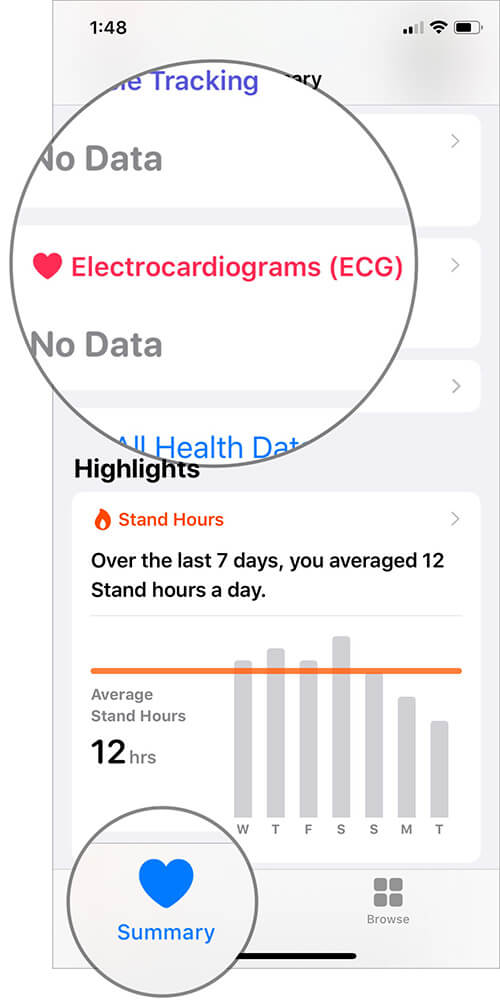 Tap on Electrocardiograms in iOS Health App