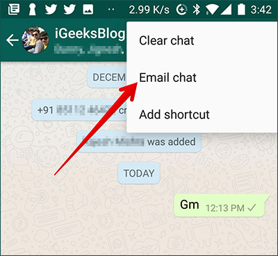 Tap on Email Chat in Android Phone in WhatsApp