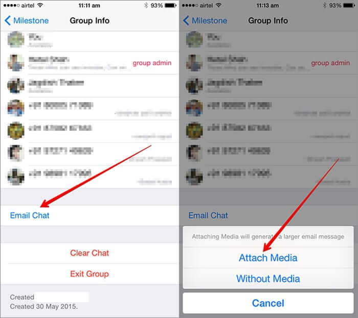 Tap on Email Chat in WhatsApp on iPhone