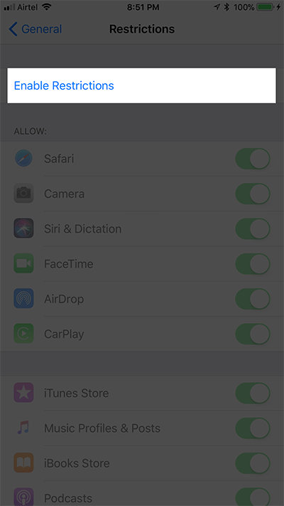 Tap on Enable Restrictions on iPhone