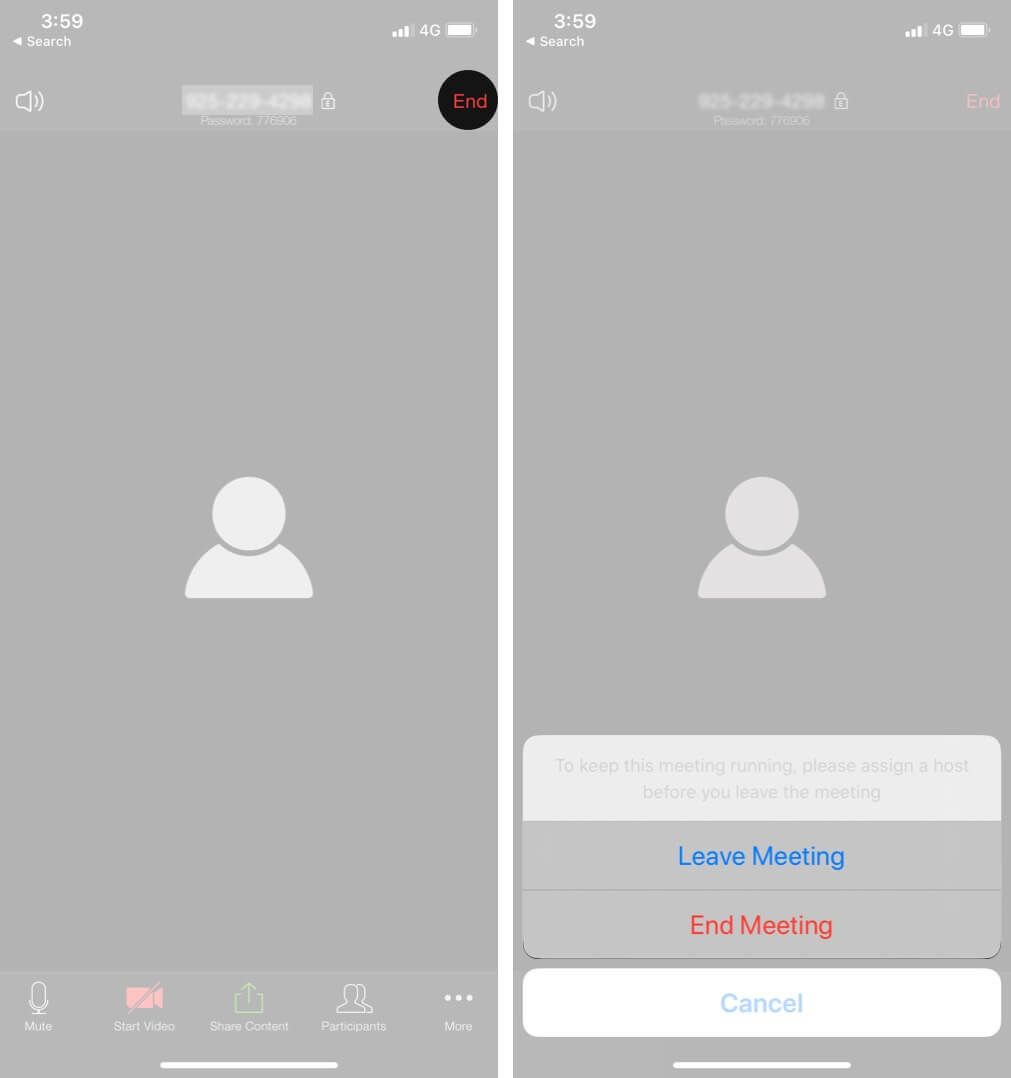 Tap on End and Select Leave Meeting or End Meeting on iPhone