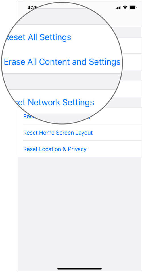 Tap on Erase All Content and Settings to Reset iPhone