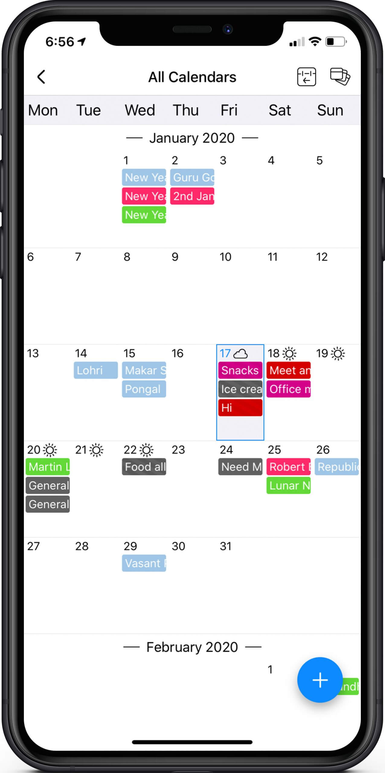 Tap on Event to View Full List in GroupCal App on iPhone