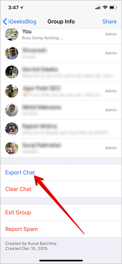 Tap on Export Chat in WhatsApp on iPhone