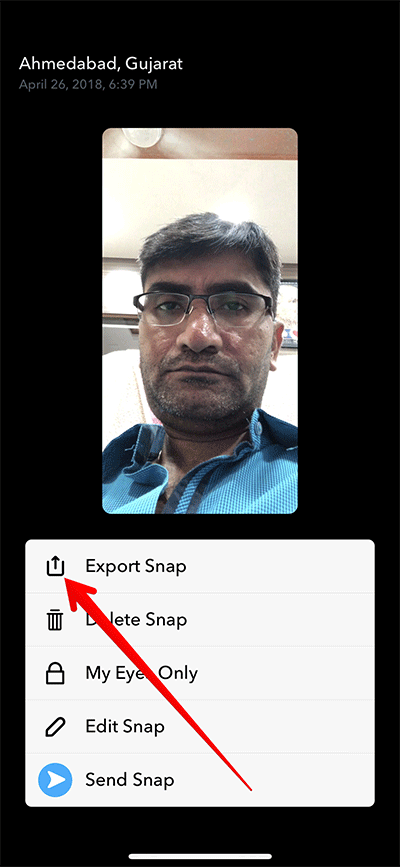 Tap on Export Snap to Save Snapchat Video on iPhone