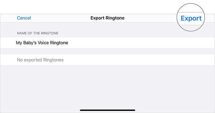 Tippen Sie in GarageBand App auf In Klingelton exportieren, um Sprachnotizen in Klingelton umzuwandeln