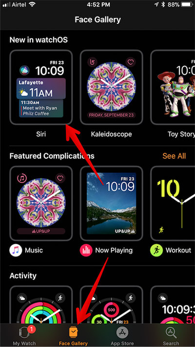 Tap on Face Gallery and Tap on Siri in Apple Watch App on iPhone