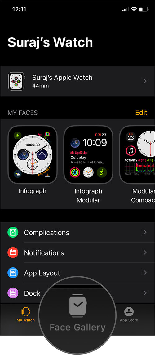 Tap on Face Gallery in Watch App on iPhone