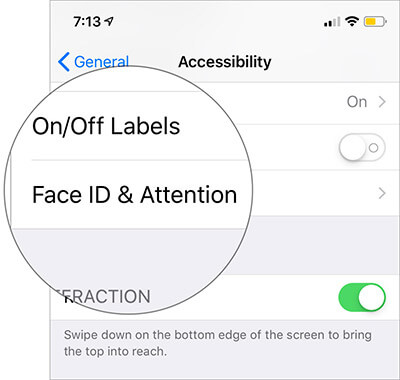 Tap on Face ID & Attention in Settings on iPhone X