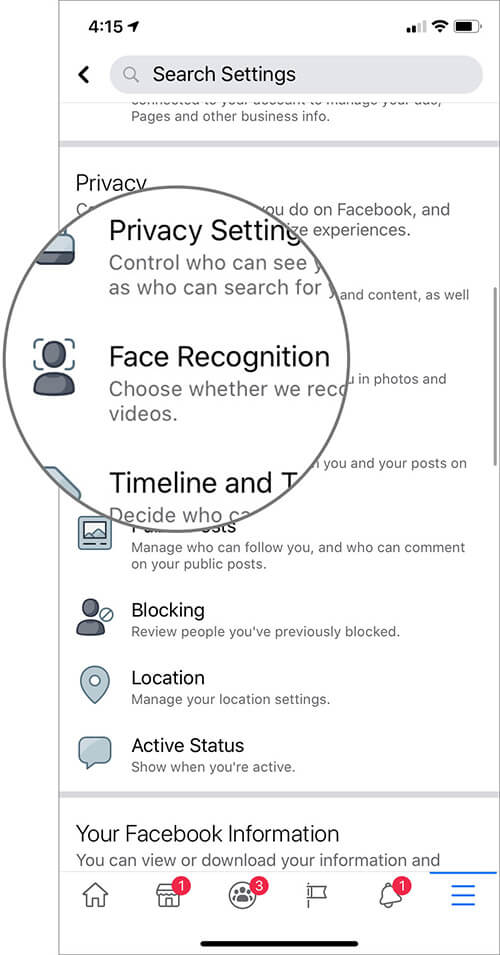 Tap on Face Recognition i Facebook Settings on iPhone