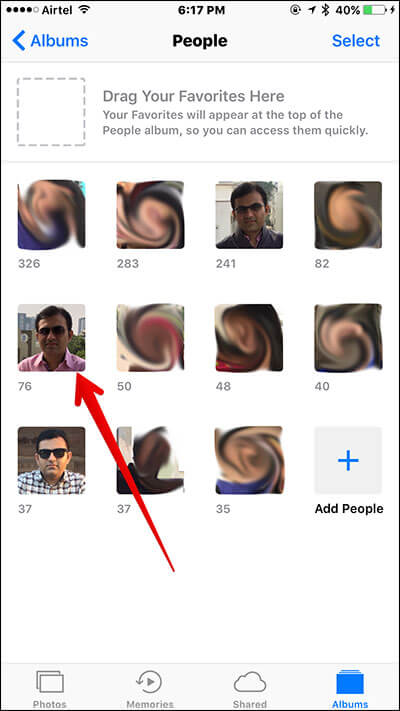 Tap on Face in iOS 10 People Album