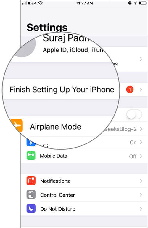 Tap onFinish Setting Up Your iPhone prompt in iOS Settings