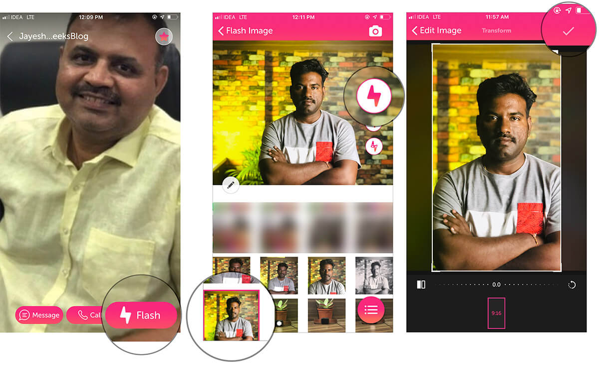 Tap on Flash and Setup your Photo As Caller ID Using Flash iPhone App