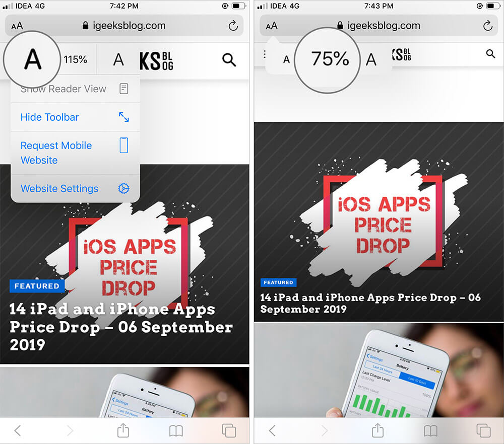 Tap on Font icon to make text Smaller in Safari on iPhone