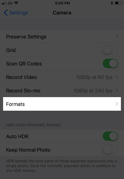 Tap on Formats in iPhone 8 Plus or iPhone X Camera Settings