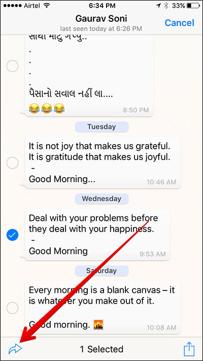 Tap on Forward Button in WhatsApp on iPhone