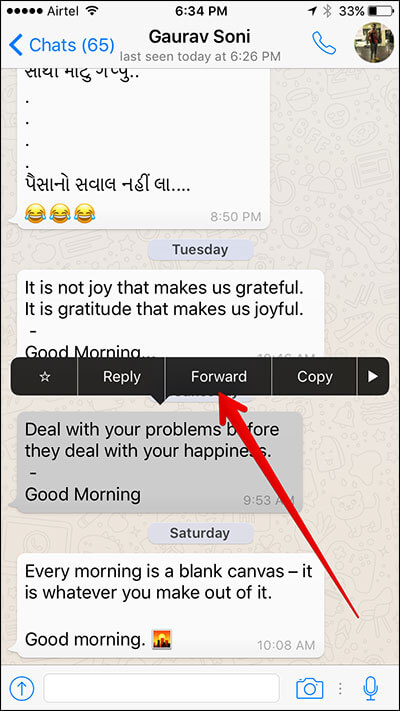Tap on Forward in WhatsApp on iPhone