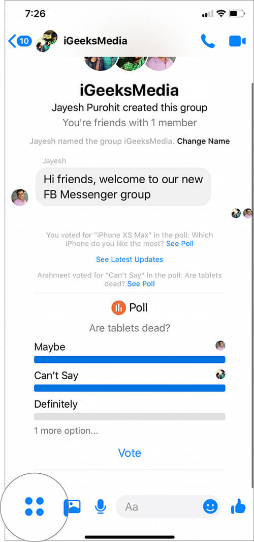 Tap on Four Dots Icon in Facebook Messenger Group on iPhone