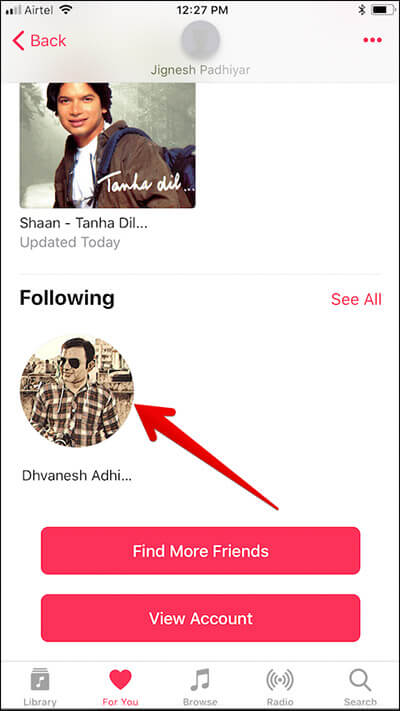 Tap on Friend Name in Apple Music on iPhone