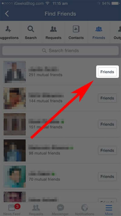 Tap on Friends in Facebook Settings