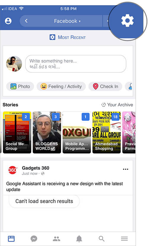 Tap on Gear icon in iOS Friendly for Facebook App