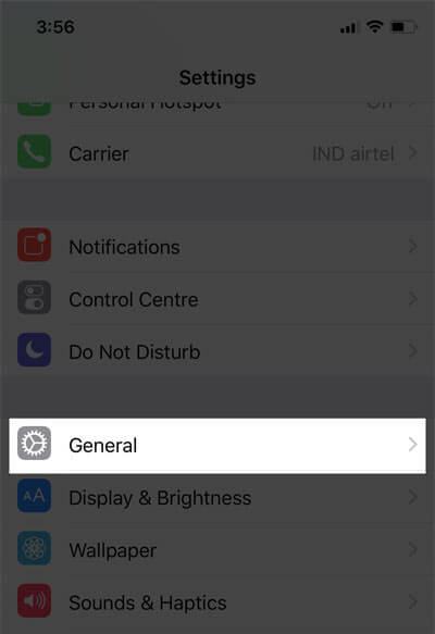 Tap on General Under Settings on iPhone X