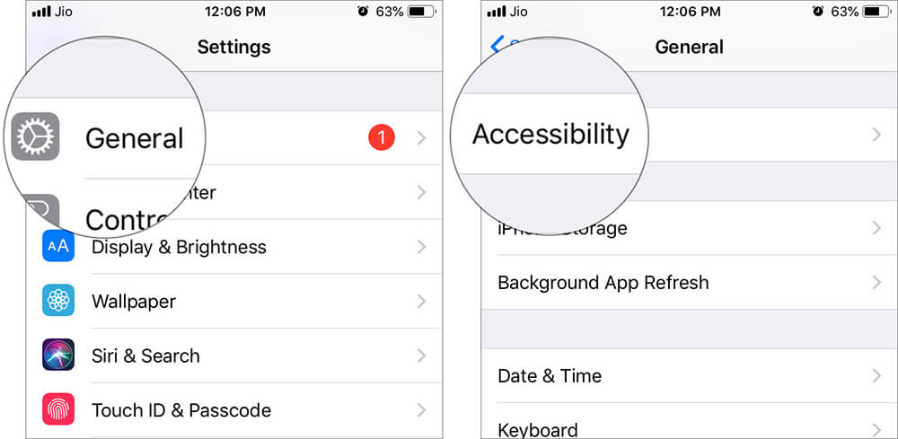 Tap on General and Accessibility in iOS Settings
