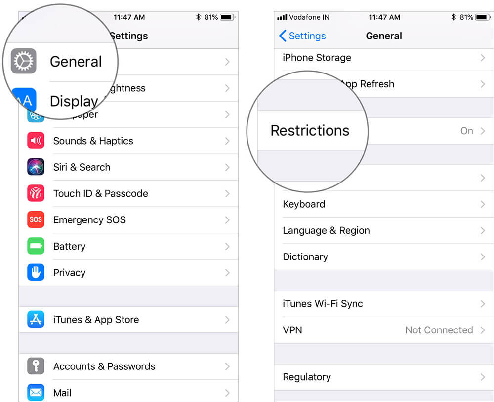 Tap on General and Select Restrictions in iOS 11 Settings