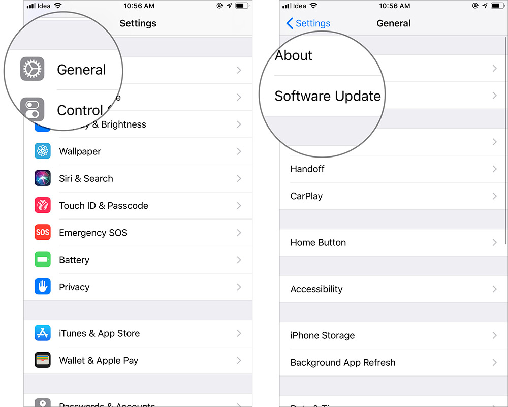 Tap on General and Software Update in iPhone Settings