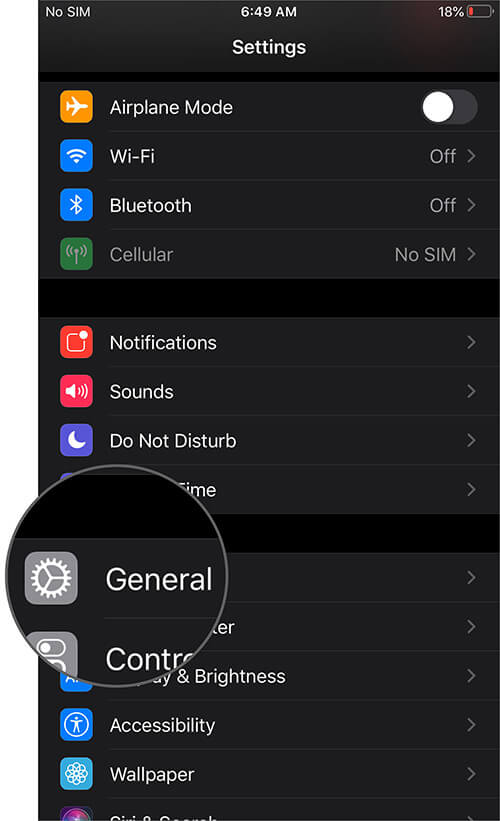 Tap on General in Settings App on iPhone