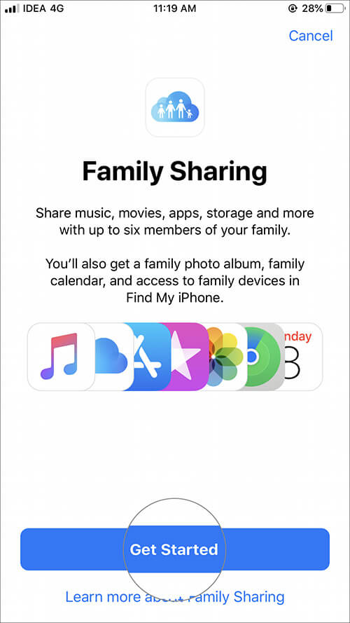 Tap on Get Started Family Sharing on iPhone