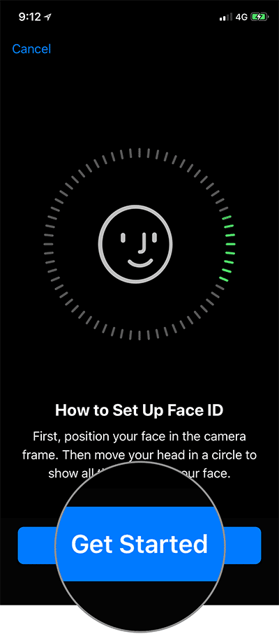 Tap on Get Started in Face ID Set up on iPhone X