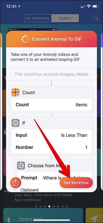 Tap on Get Workflow on iPhone