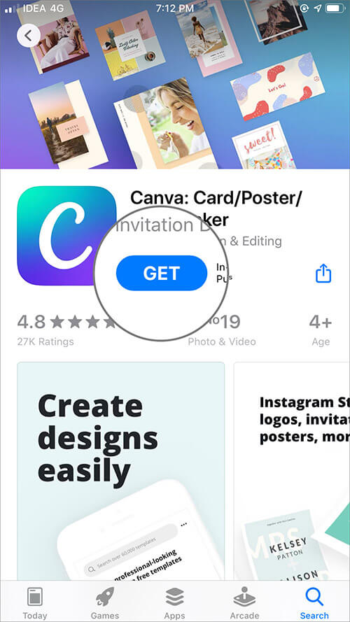 Tap on Get and Download Canva App on iPhone
