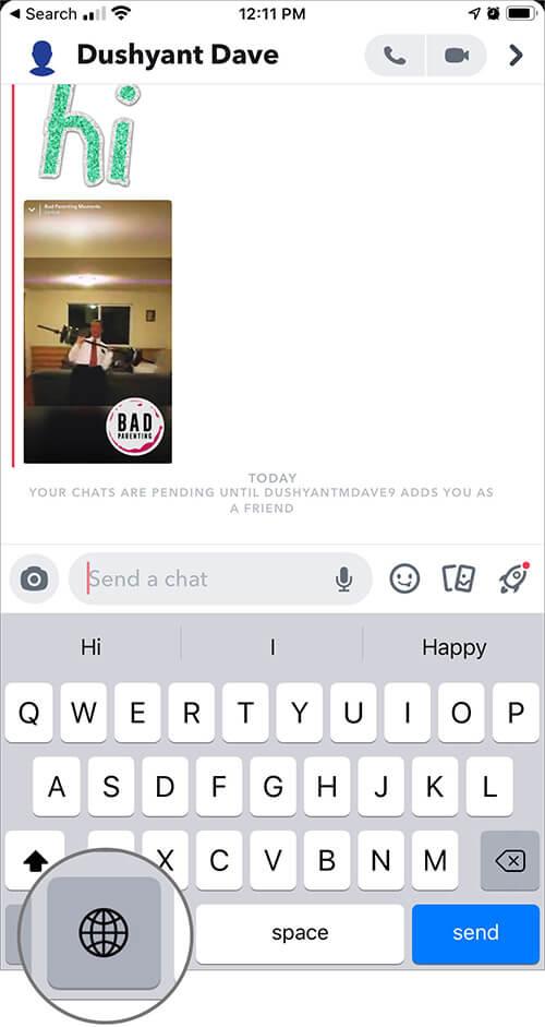 Tap on Globe in Keyboard on iPhone