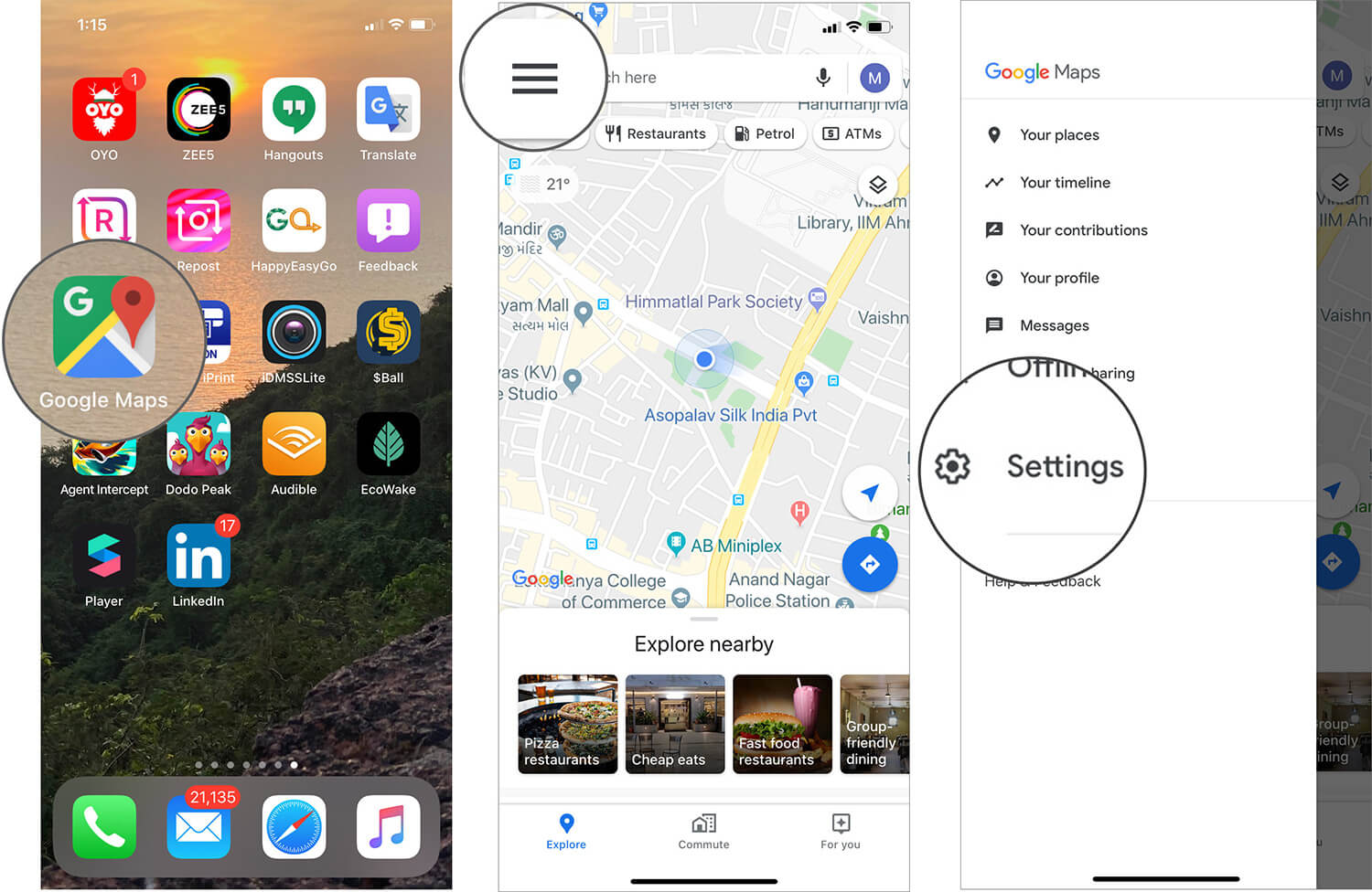 Tap on Google Maps Settings on iPhone