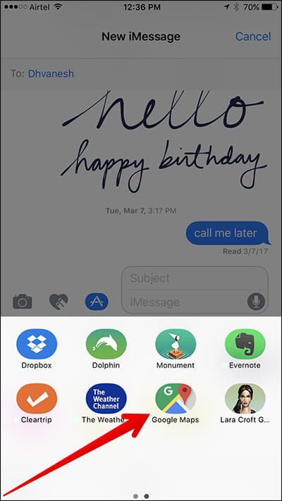 Tap on Google Maps in Messages App on iPhone