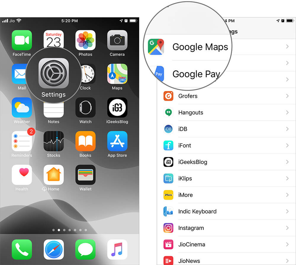 Tap on Google Maps in iOS 13 Settings on iPhone