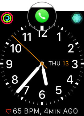 Tap on Green Phone app icon of Apple Watch