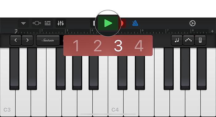 Tippen Sie in der GarageBand-App auf dem iPhone auf Grünes Dreieck
