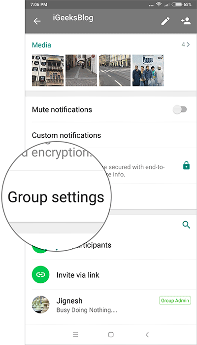 Tap on Group Settings in WhatsApp on Android Phone