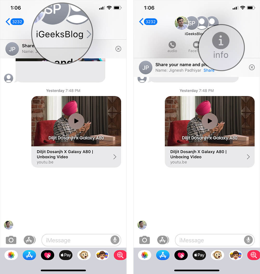 Tap on Group or Contact Name in Messages App on iPhone or iPad
