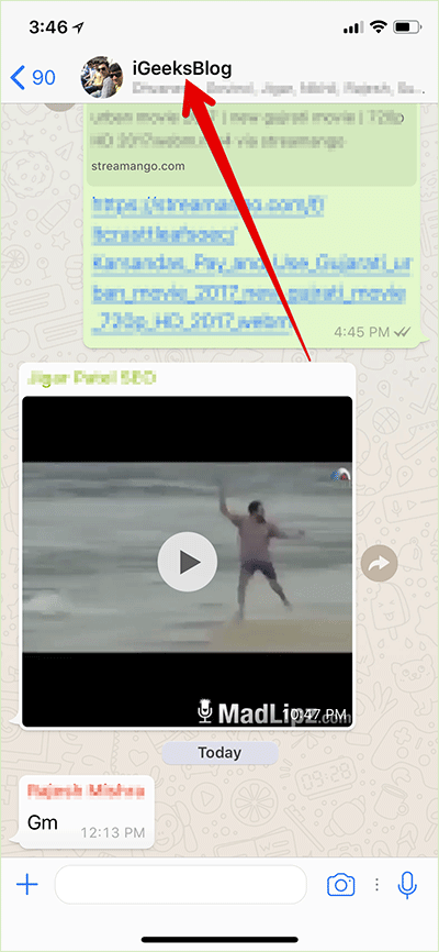 Tap on Group or Contact name in WhatsApp on iPhone