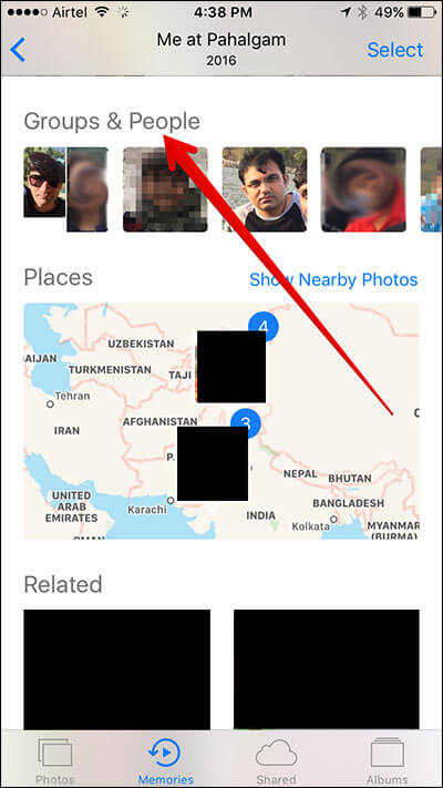 Tap on Groups & People in iOS 10 Photos App