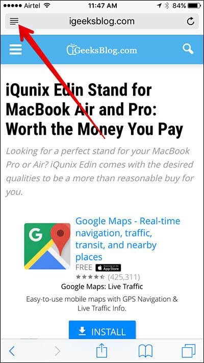 Tap on Hamburger Button in Safari on iPhone