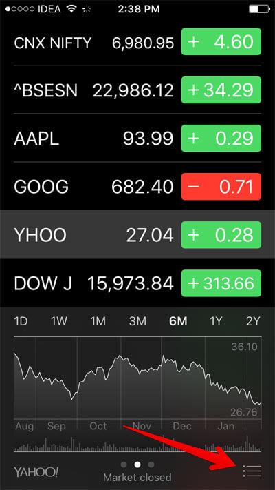 Tap on Hamburger button in Stocks App